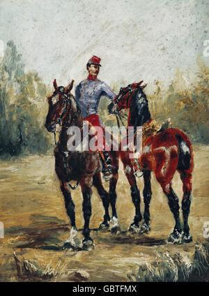 "Bildende Kunst, Toulouse-Lautrec, Henri de (1864-1901), Malerei, ""Deux Chevaux Avec Hygieneverordnung"" (zwei Pferde - Stockfoto"