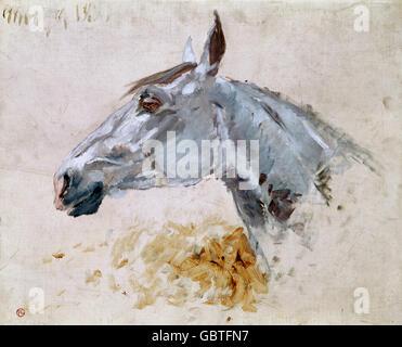 """Bildende Kunst, Toulouse-Lautrec, Henri de (1864-1901), Malerei, """"Cheval Blanc"""" Gazelle """"(das weiße Pferd""""Gazelle""""), - Stockfoto"""