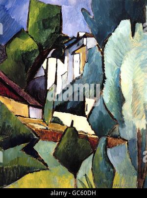 """Bildende Kunst, Kanoldt, Alexander (1881-1939), """"Klausen"""", Malerei, 1911, Öl auf Pappe, 42, 2 x 34 cm, Franz Marc - Stockfoto"""