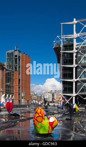 Paris, Centre Pompidou, Tinguely-Brunnen - Stockfoto