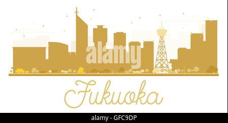 Fukuoka City Skyline golden Silhouette. Vector Illustration. einfache flache Konzept für Tourismus Präsentation, - Stockfoto