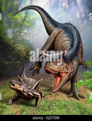 Carnotaurus greift meist aus der späten Kreidezeit - Stockfoto