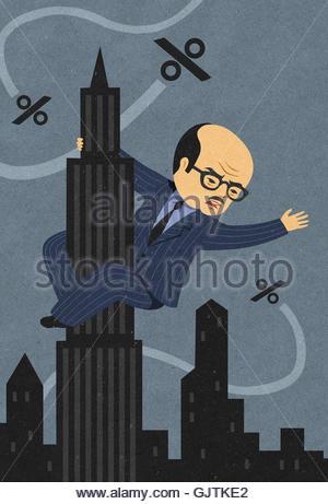 Unternehmer als King Kong klammerte sich an Empire State Building Kampf gegen drohende Prozentsätze - Stockfoto