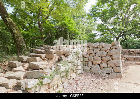 Stiftung des ehemaligen Ku-keine-Hirayagura Bitchu Matsuyama Schloss, Takahashi, Japan - Stockfoto