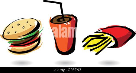 bunte Fast-Food-Ikonen, isolierte Illustrationen - Stockfoto