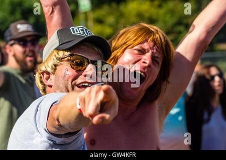 Robin Hill Country Park, Isle Of Wight, UK. 11. September 2016. Drängen Sie Aufnahmen an Bestival Robin Hill Country - Stockfoto