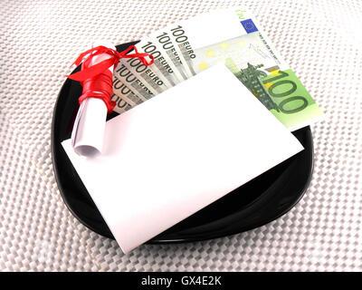 Euro Geld auf Teller, Messer, Diamanten und Geschenk Bogen auf weißem Papier - Stockfoto