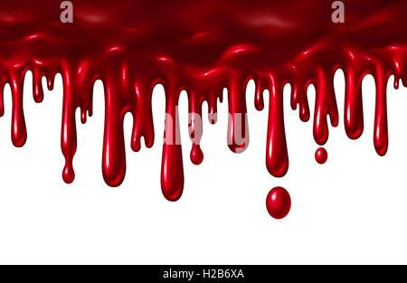Blut Flüssigkeit tropfte wie eine rote Splatter mit Tropfen fallen nach unten wie ein Halloween-Element oder ein - Stockfoto