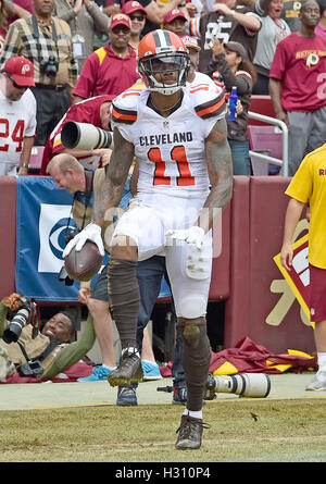 Landover, Maryland, USA. 2. Oktober 2016. Cleveland Browns Wide Receiver Terrelle Pryor (11) feiert nach seinem - Stockfoto