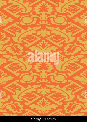 Vektor-bunte Damast nahtlose Blumenmuster-Hintergrund. Farbtrend. Elegante Luxus-Textur Wallpapers, Hintergründe - Stockfoto