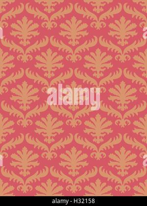 Vektor-bunte Damast nahtlose Blumenmuster-Hintergrund. Farbtrend Korallen. Elegante Luxus-Textur für Wallpaper, - Stockfoto