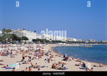 Frankreich, Cote D Azure, Cannes, Blick auf die Stadt, Strand, Europa, Süd-Frankreich, Cote d ' Azur, Mittelmeerküste, - Stockfoto