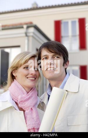 Haus, paar, jung, planen, stolz, Porträt, Immobilien, Architekturbüro Plan zufrieden, Altersrente, schauen Sie, - Stockfoto