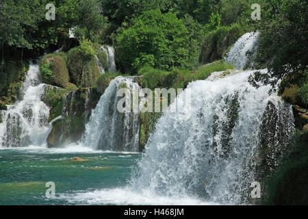 Kroatien, Dalmatien, Sibenik-Knin, Nationalpark Krka Wasserfälle Skradinski Buk, Europa, - Stockfoto