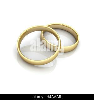 zwei goldene Ringe zusammen, Symbol, Heirat, Hochzeit, - Stockfoto