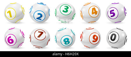 Satz von Lotterie farbigen Anzahl Kugeln 0-9 - Stockfoto
