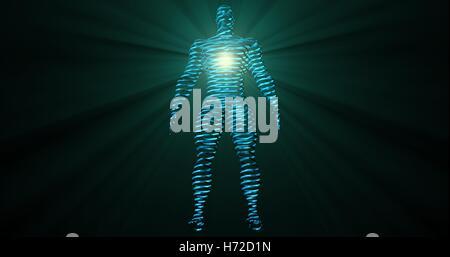 Glühend linear, entfernt 3d Mann, als 3d Kontur Scheiben mit glühenden volumetrische Strahlen, Lichtstrahlen, die - Stockfoto