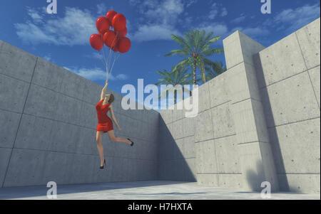Junges Mädchen in einem roten Kleid ausziehen den Boden halten Ballons und fliegt über eine Mauer. Dies ist ein - Stockfoto