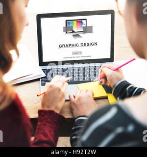 Grafikdesign Illustrationskunst arbeiten Konzept - Stockfoto