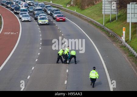 Heathrow, Vereinigtes Königreich. 19. November 2016. Ein Demonstrant gegen Flughafenausbau in Heathrow blockiert - Stockfoto