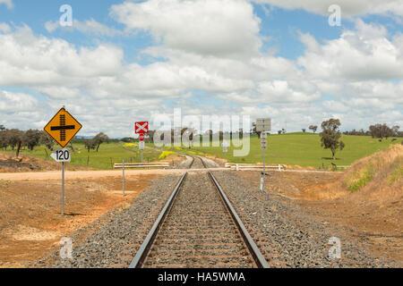 Eisenbahn Zeichen und Spuren durch australische neue South Wales Landschaft Horizont, nach vorn in die Zukunft gehen - Stockfoto