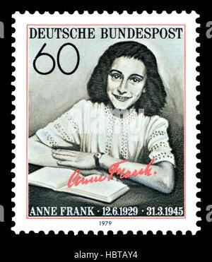 Deutsche Briefmarke (1979): Annelies Marie Frank (1929-1945) deutsch-stämmige Tagebuchschreiberin (1929-1945) jüdische - Stockfoto