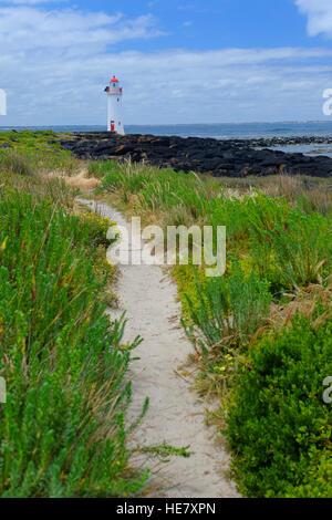 Leuchtturm auf Griffiths Island, Port Fairy, Victoria, Australien - Stockfoto