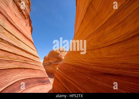 Roter Sandstein Canyon - Weitwinkelaufnahme einer Sandstein-Schlucht bei The Wave in North Coyote Buttes an die - Stockfoto