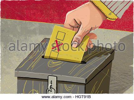 Hand, die Hinterlegung Stimmzettel in die Wahlurne - Stockfoto
