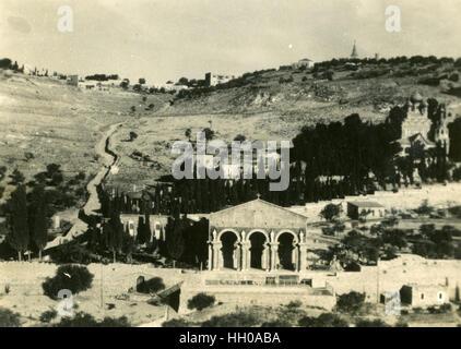 Die Kirche aller Nationen 1946, Basilika der Agonie, Ölberg in Jerusalem, den Garten von Gethsemane, Bethlehem, - Stockfoto