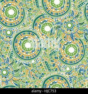 Ethnische Musterdesign mit Federn und Kreisen. - Stockfoto