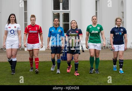 London, UK. 25. Januar 2017. Womens Kapitäne, Sarah Hunter, Carys Phillips, Sara Barattin, Gaelle Mignot, Niamh - Stockfoto