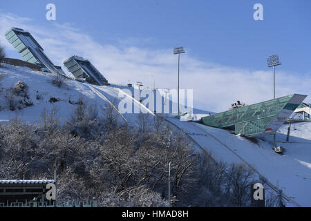 Gesamtansicht, 2. Februar 2017: 28. Winter Universiade Almaty 2017 a. internationalen Skispringen Complex, Almaty, - Stockfoto