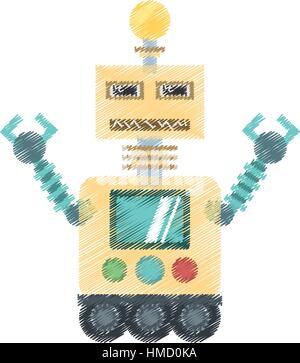 Robotertechnologie Birne Display Arbeiter Vektor Illustration Eps 10 Zeichnung - Stockfoto