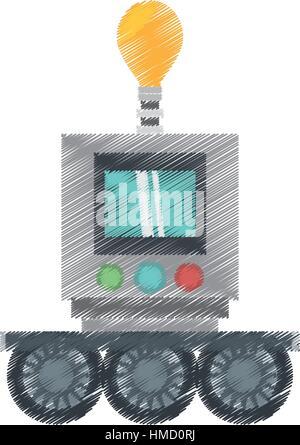 Zeichnung Technologie Roboter Glühbirne Licht-Display Vektor Illustration Eps 10 - Stockfoto