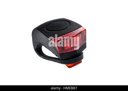 Abnehmbare Fahrrad rot blinkt die LED Tail Sicherheitslicht. Kautschuk schwarz und rot LED Fahrrad Licht mit ein - Stockfoto