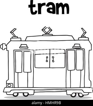 Transport von Straßenbahn Sammlung Hand zeichnen - Stockfoto
