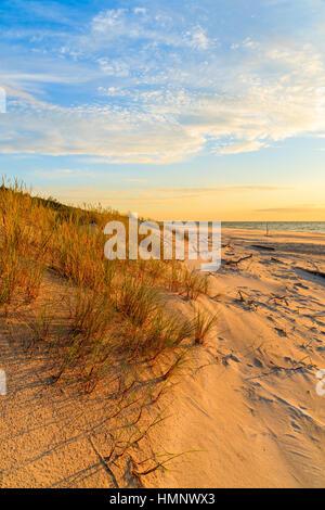 Rasen Sie auf Sanddüne und Sonnenuntergang über Leba Strand, Ostsee, Polen - Stockfoto
