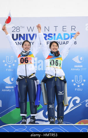 Almaty, Kasachstan. 5. Februar 2017. (L-R) Yuka Kobayashi, Haruka Iwasa (JPN) auf den 28. Winter-Universiade Almaty - Stockfoto