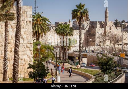 Wände und die Zitadelle von David in der alten Stadt von Jerusalem, Israel - Stockfoto