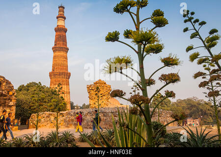 Landschaft, Panorama, Panorama, Besucher, im Qutub Minar complex, Delhi, Indien - Stockfoto