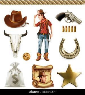 Cowboy-Cartoon-Figur und Objekte. Westliche Abenteuer. 3D Vektor Icon-set - Stockfoto