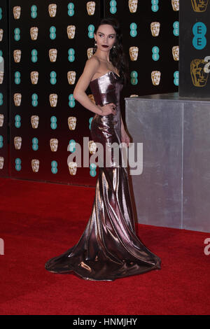 LONDON - 12. Februar 2017: Ava West besucht die EE British Academy Film Awards (BAFTA) in der Royal Albert Hall - Stockfoto