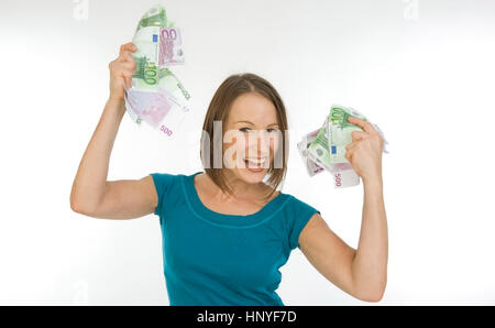 Model Release, Junge Frau Mit Viel Geld - junge Frau mit viel Geld - Stockfoto