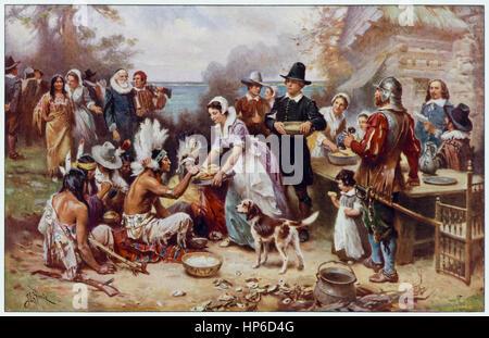 """""""Das erste Thanksgiving 1621"""" des amerikanischen Künstlers Jean Leon Gerome Ferris (1863-1930), viele Szenen aus - Stockfoto"""