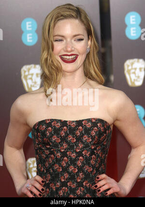 12. Februar 2017 - Holliday Grainger Teilnahme an EE British Academy Film Awards 2017 am Royal Opera House in London, - Stockfoto