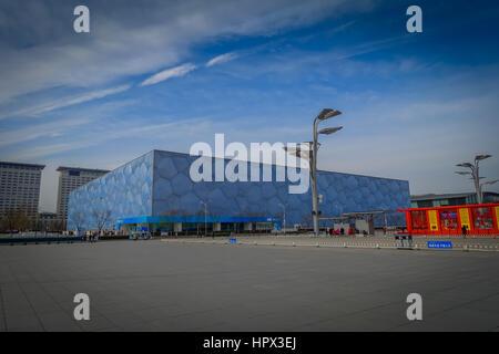 Peking, CHINA - 29. Januar 2017: spektakuläre national Aquatics Arena befindet sich im modernen Olympischen Sportzentrum, - Stockfoto