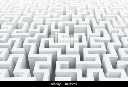 Weiße Labyrinth Hintergrund, 3D-Rendering - Stockfoto