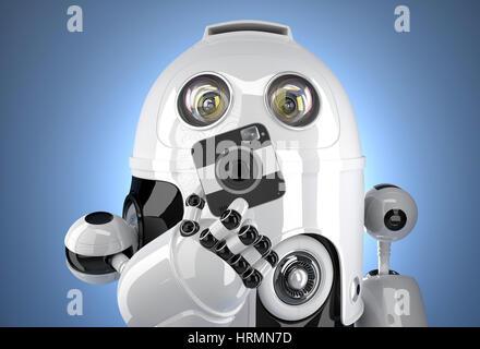 Roboter mit einer quadratischen Kamera. Clipping-Pfad enthält - Stockfoto