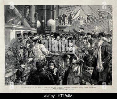 Die russischen Juden durch einen Arzt vor der Auswanderung aus Liverpool, 1891 untersucht. Künstler: Staniland, - Stockfoto